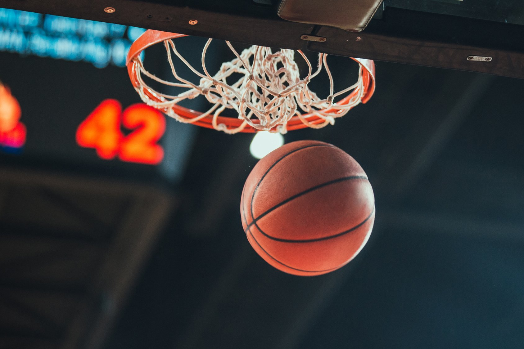 ball going through a net