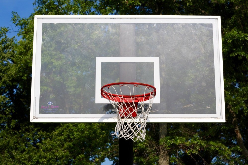 A glass backboard