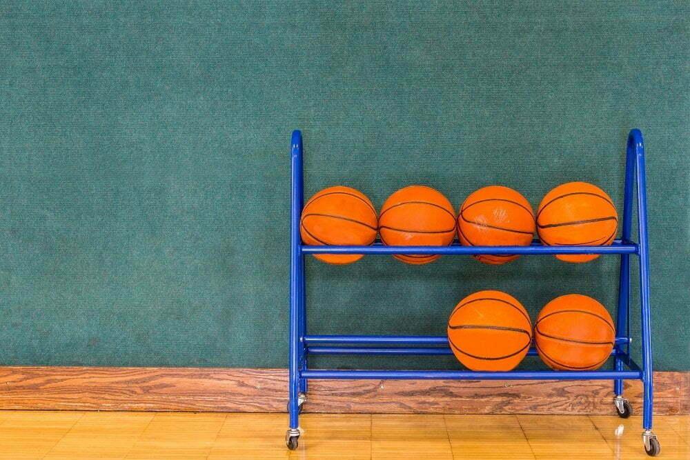 Basketballs in Storage Rack