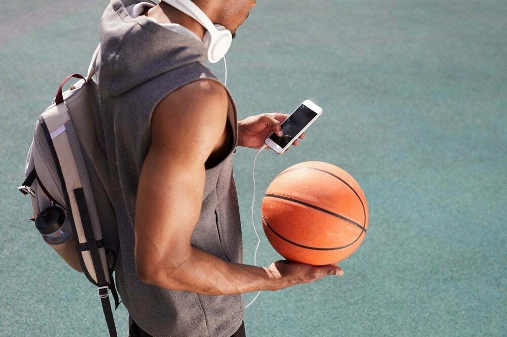 athlete using headphones